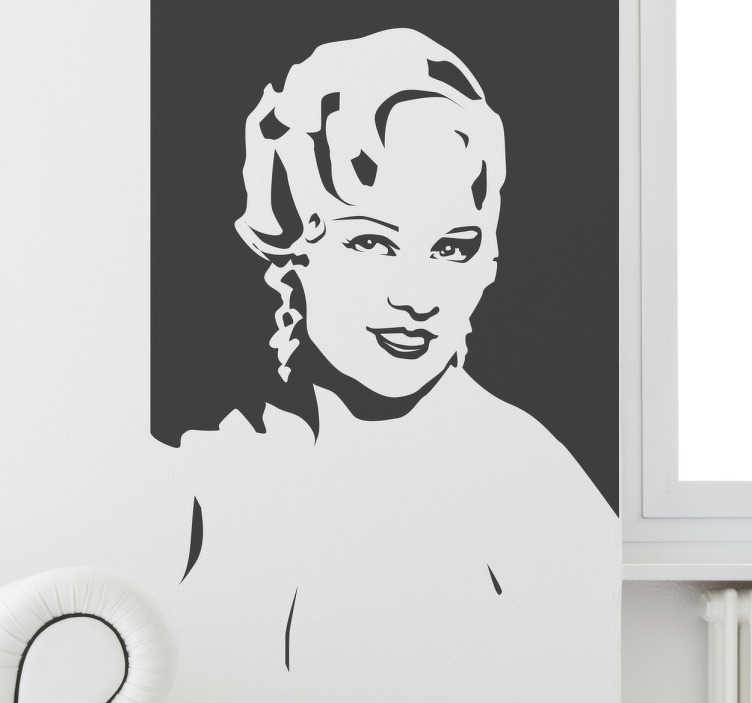 TenStickers. Naklejka portret Mae West. Naklejka ścienna przedstawiająca portret Mae West w stylu retro.
