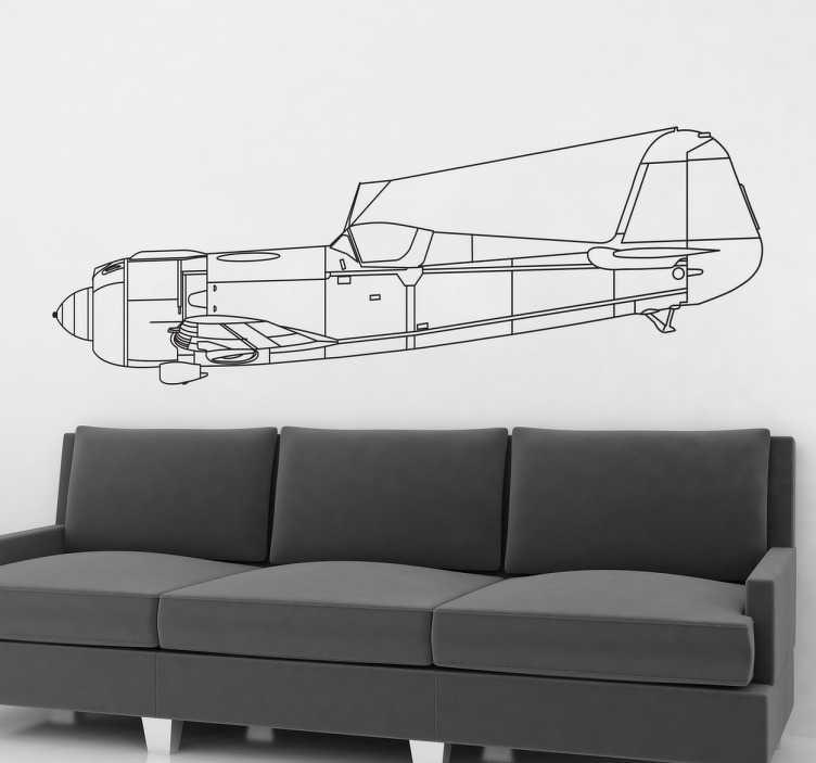 TenStickers. Autocolante decorativo avioneta lateral. Adesivos para parede com um detalhado desenho da lateral de um avião clássico, ideal para decorar qualquer tipo de espaço em tua casa.