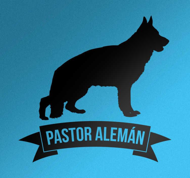 TenVinilo. Pegatina perro pastor alemán. Pegatinas de mascotas con la silueta de un pastor alemán acompañado de una etiqueta con el nombre de la raza de tu perro.