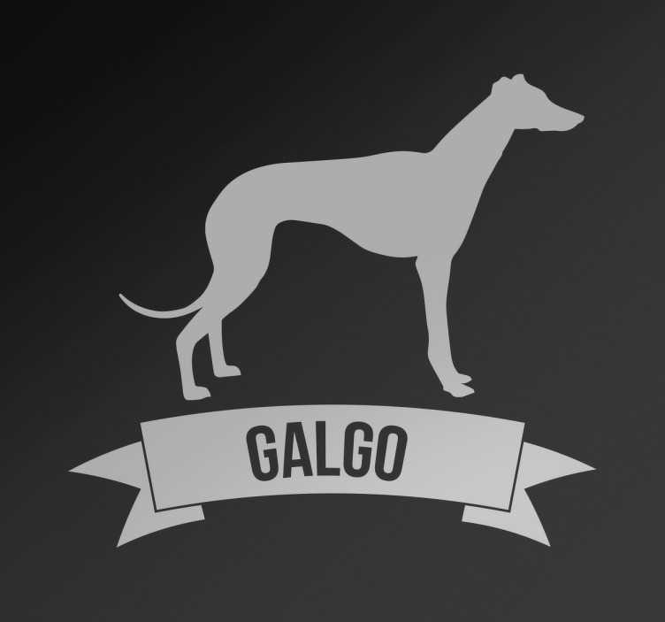 TenStickers. Autocolante decorativo cão galgo. Vinil decorativo de animais para os acessórios das tuas mascotes com o desenho de um perfil de galgo e embaixo o nome da raça do teu cão.