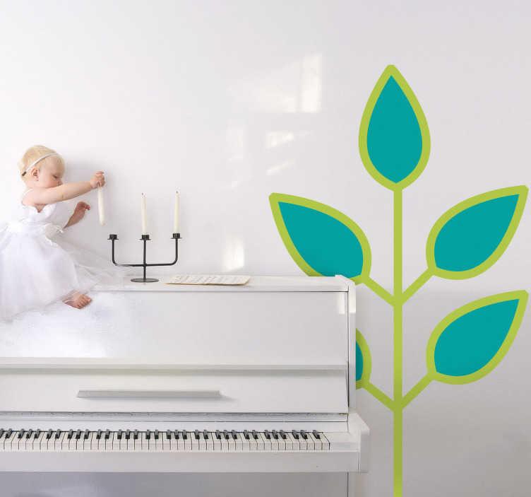 Sticker kinderkamer plant blauwe blaadjes
