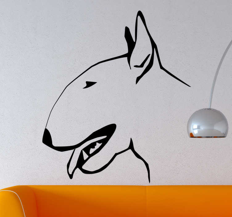 TenStickers. Vinil decorativo perfil bull terrier. Vinil autocolante com o retrato da tua mascote preferida. Ideal para a decoração de qualquer espaço da tua casa, seja sala, quarto juvenil, infantil.