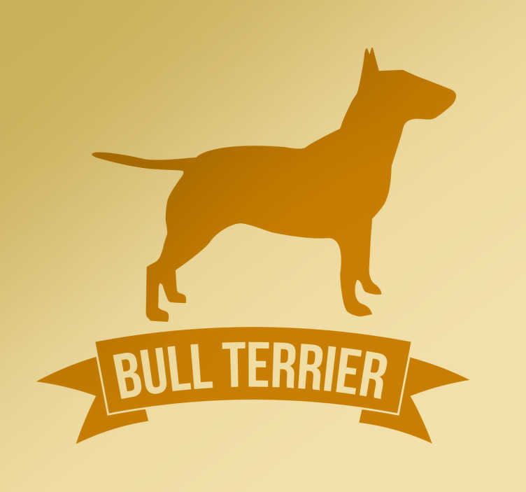 "TenStickers. Bull Terrier Wall Sticker. The wall sticker consists of of a silhouette image of a dog, with the text ""bull terrier"" written underneath."