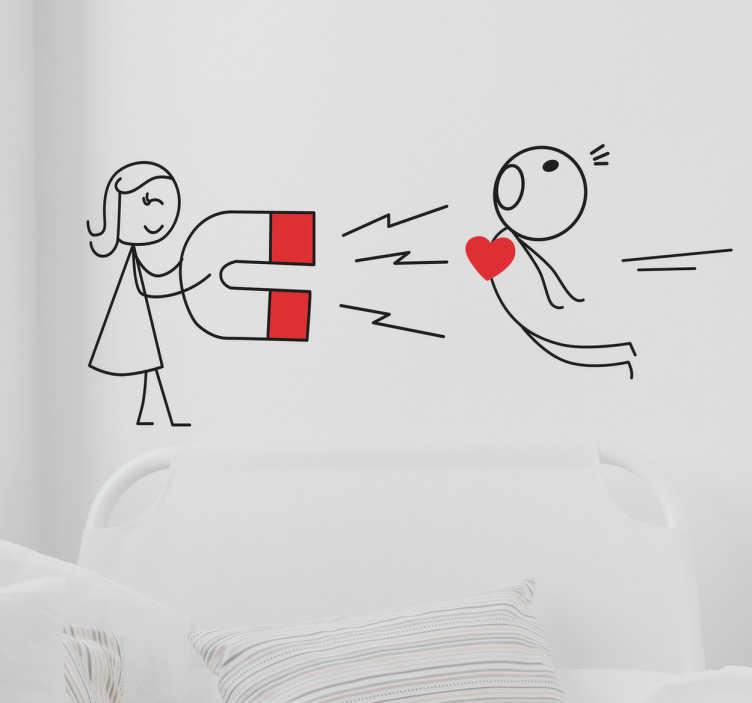 TenStickers. sticker dessin bonhomme amour. Un sticker mural dessin de bonhommes : avec une fille qui attire un garcon à l'aide d'un aimant. Bon pour toutes surfaces.