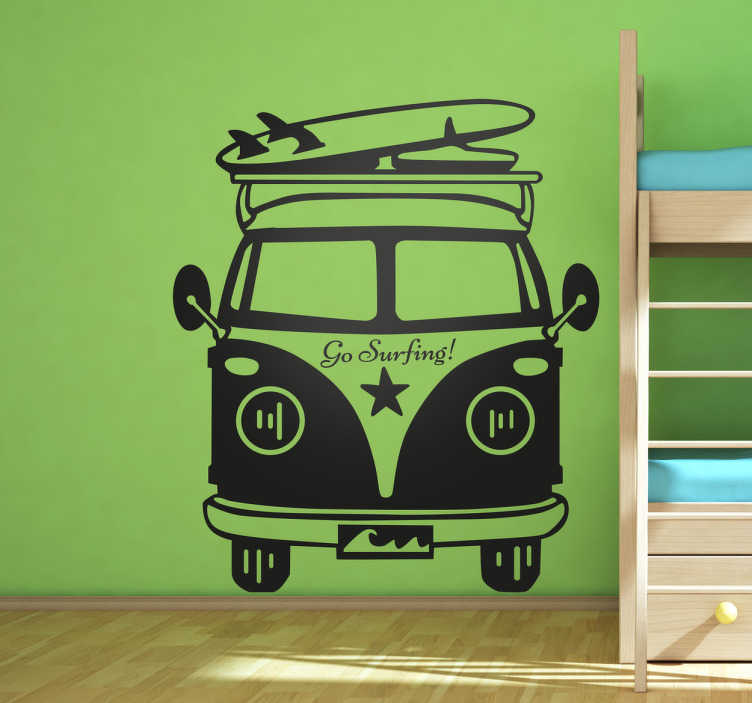 "TenStickers. Go Surfing Van Wall Sticker. The wall decal consists of a camper van ready to head to the beach with a surf board above and a ""go surfing"" sticker in front of the van."