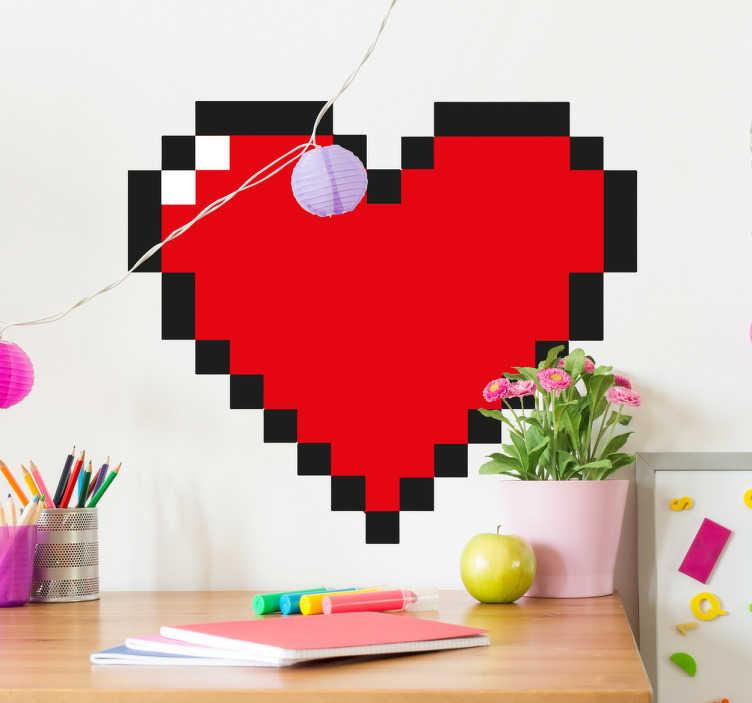 pixel love heart sticker tenstickers