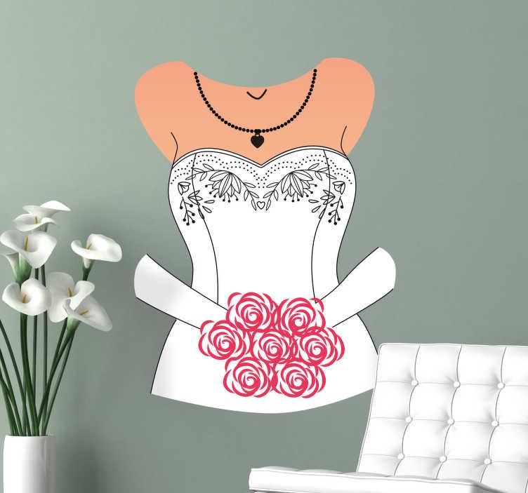 TenVinilo. Vinilo decorativo vestido novia. Vinilos decorativos para bodas con la ilustración del torso de una flamante novia con un ramo de rosas.