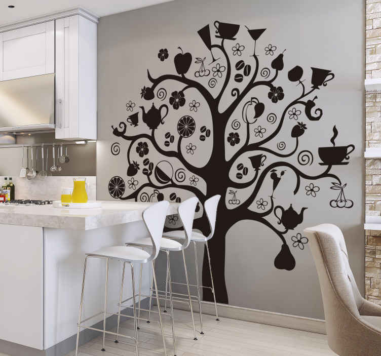 TenStickers. Transformed Kitchen Tree Sticker. Kitchen stickers - A creative sticker illustration of a tree where the fruits and leaves have been replaced with cups and plates.
