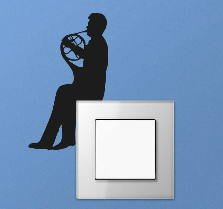TenStickers. Muursticker Trompetist lichtschakelaar. Muursticker van een Trompetist speciaal geschikt voor boven op een lichtschakelaar, een leuke wanddecoratie.