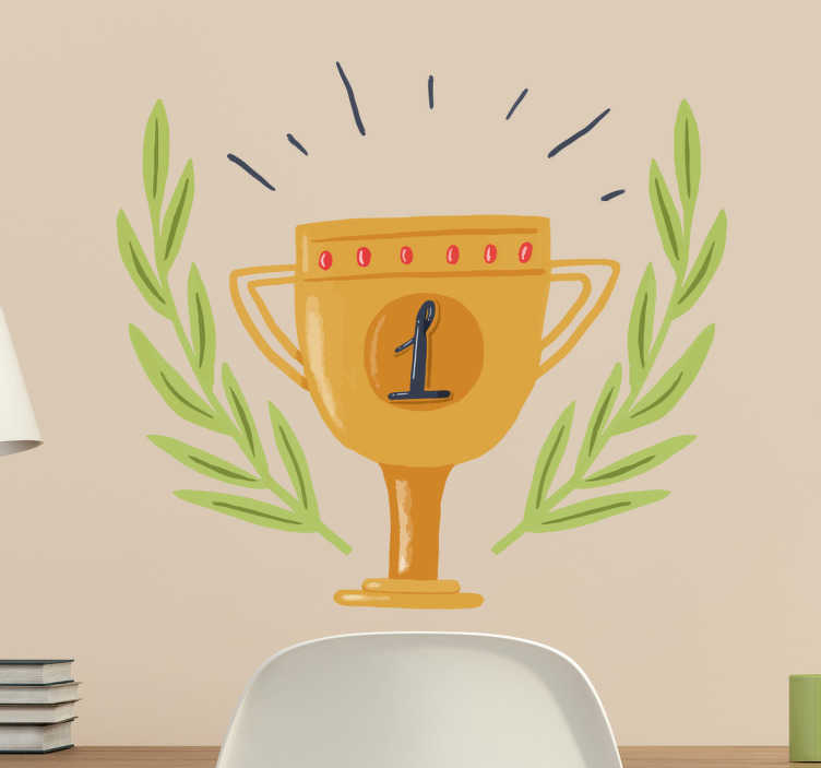 TenStickers. Adesivo coppa primo posto. Adesivo murale con la rappresentazione di una coppa con il numero 1 ed una foglia di alloro intorno.