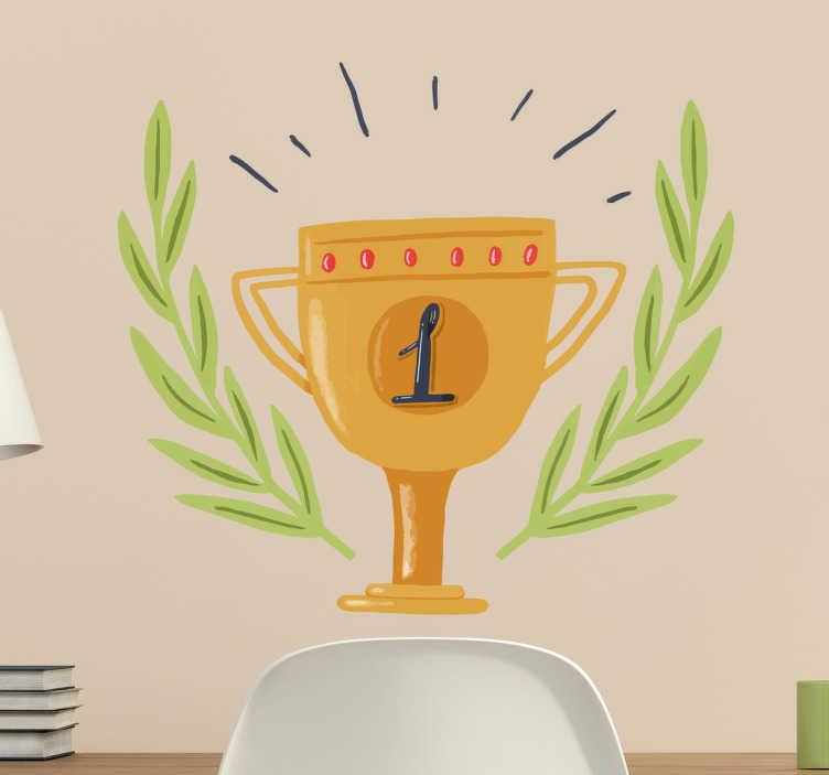 TENSTICKERS. ナンバー1トロフィーウォールステッカー. ナンバーワンのカップの壁デカールとカップの周りの花輪、受賞者のための壁の装飾