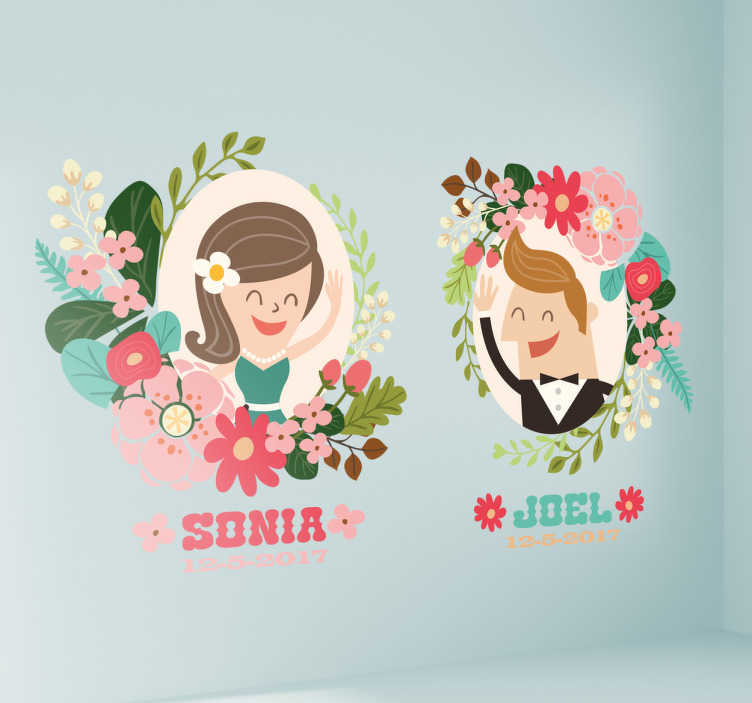 TenStickers. Personalised Wedding Stickers. This wall sticker consists of a couple as a cartoon, the names and the date are adapted individually to meet the customer's needs.