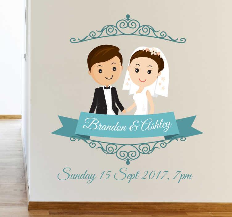 TenStickers. Vinil personalizável para noivos. Vinis decorativos para casamento com o desenho de um alegre casal de noivos debaixo e os seus nomes do futuro marido e mulher por baixo.