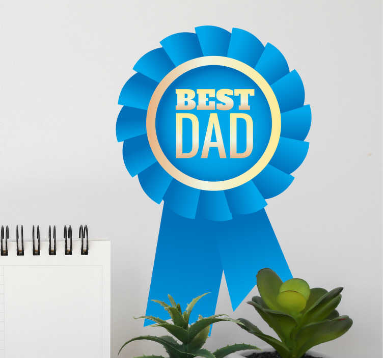"TenStickers. Best Dad Badge Wall Sticker. This adhesive film consists of the lettering ""Best Dad"" on a blue badge."