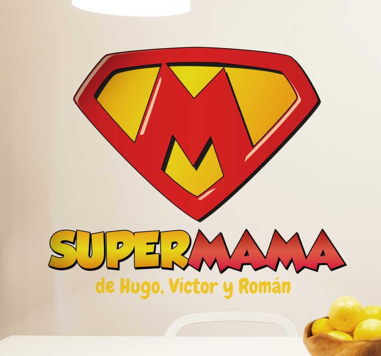 TenStickers. Vinil autocolante super Mama. Vinil autocolante super Mama. Surpreende a tua mãe com este vinil decorativo de excelente qualidade e a um preço fantástico.