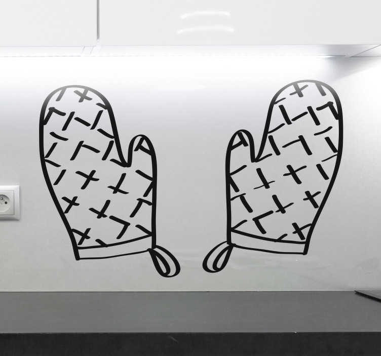 TenVinilo. Vinilo manoplas de cocina. Vinilos decorativos para cocinas con la ilustración de dos útiles guantes para evitar quemaduras al sacar la comida del horno.