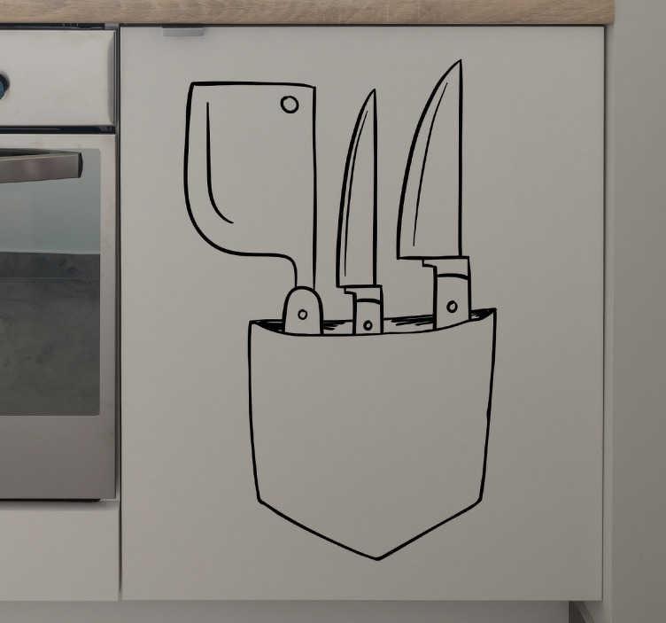 TenStickers. Dekoracja ścienna noże kuchenne. Dekoracja ścienna zawiera noże.Zaaplikuj dekorację w kuchni i ciesz się ciekawą aranżacją wnętrza.