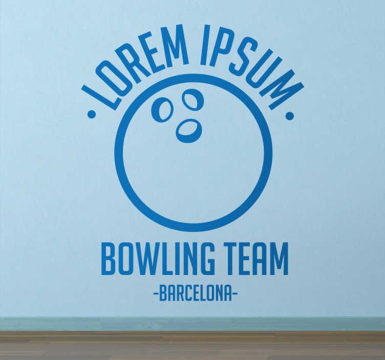 TenStickers. Wandtattoo Bowling Team. Wenn Sie Mitglied in einem Bowling Team sind, ist dieses Wandtattoo eine tolle Dekoration für Ihren Clubraum oder Ihre Stammkneipe!
