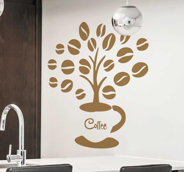 TenStickers. Naklejka ścienna Kawowe drzewo. Prezentujemy Ci dekorację,która przedstawia drzewo,które wyrasta z filiżanki kawy a listki zostały zastąpione ziarenkami kawy.