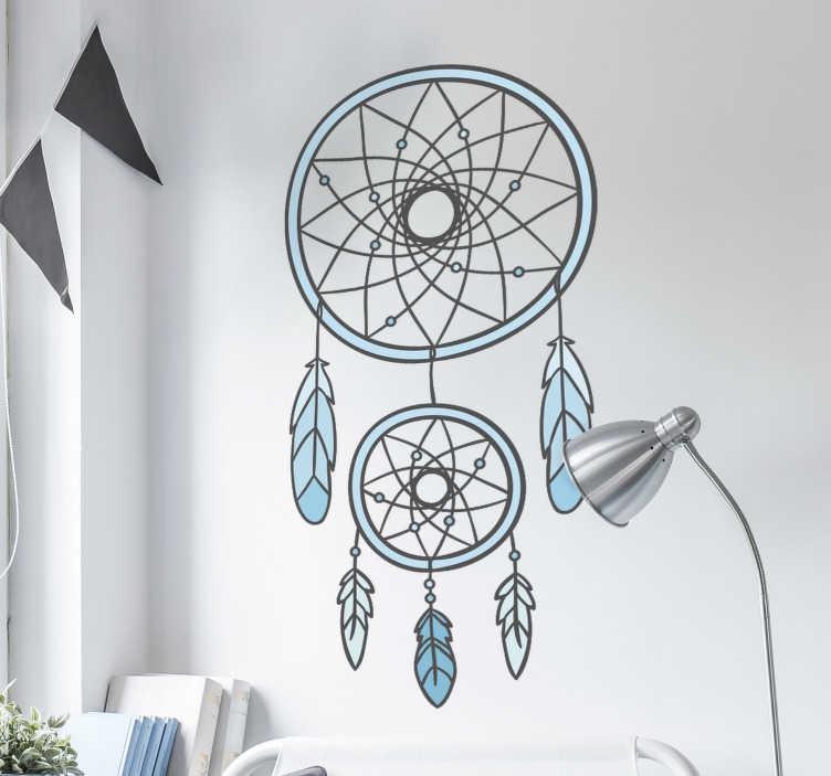 TenStickers. Slaapkamer muursticker dromenvanger. Deze muursticker met een dromenvanger is een mooie wanddecoratie voor in de slaapkamer. Afmetingen aanpasbaar. Voordelig personaliseren.