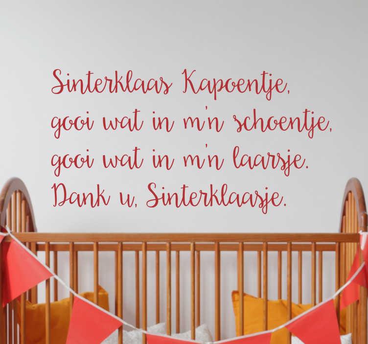 TenStickers. Muursticker Sinterklaas Kapoentje. Muursticker Sinterklaas Kapoentje, deze mooie wanddecoratie van het klassieke Sinterklaas lied is een mooie muurversiering tijdens de feestdagen.
