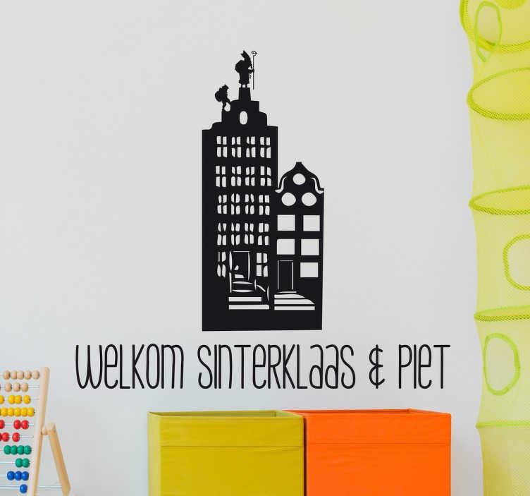 TenStickers. Muursticker welkom Sinterklaas en Piet. Muursticker welkom Sinterklaas en Piet, een mooie wanddecoratie met Sint en Piet op een klassiek rijtjeshuis.