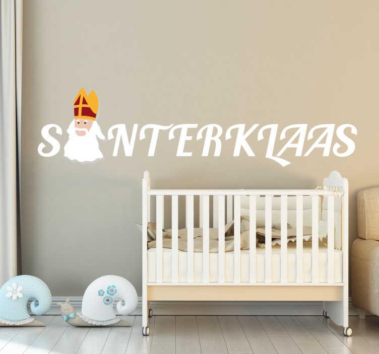 TenStickers. Muursticker Sinterklaas. Muursticker van het woord Sinterklaas met het hoofd van de goedheiligman in plaats van de I. Afmetingen aanpasbaar. Dagelijkse kortingen.