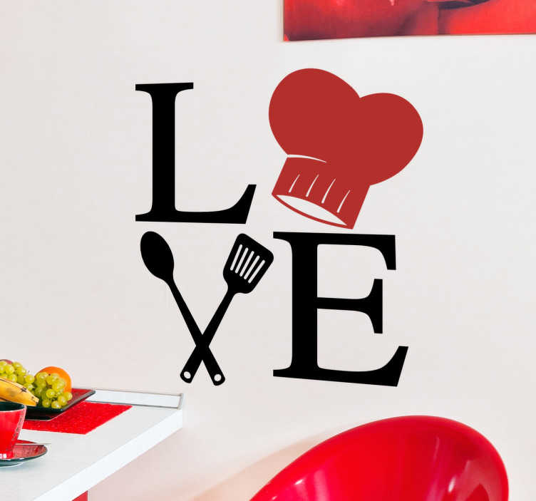 "TenStickers. Love Cooking Kitchen Wall Sticker. This kitchen wall sticker consists of a cooking cap with kitchen utensils that shape the word ""Love"""