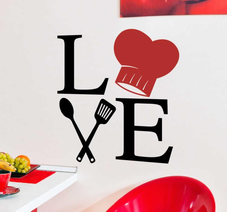 """TenStickers. Vinil decorativo cozinheiros Love. Decora a tua cozinha com um vinil decorativo original com a palavra Love (amor), onde a letra """"O"""" se converte num gorro de chef."""