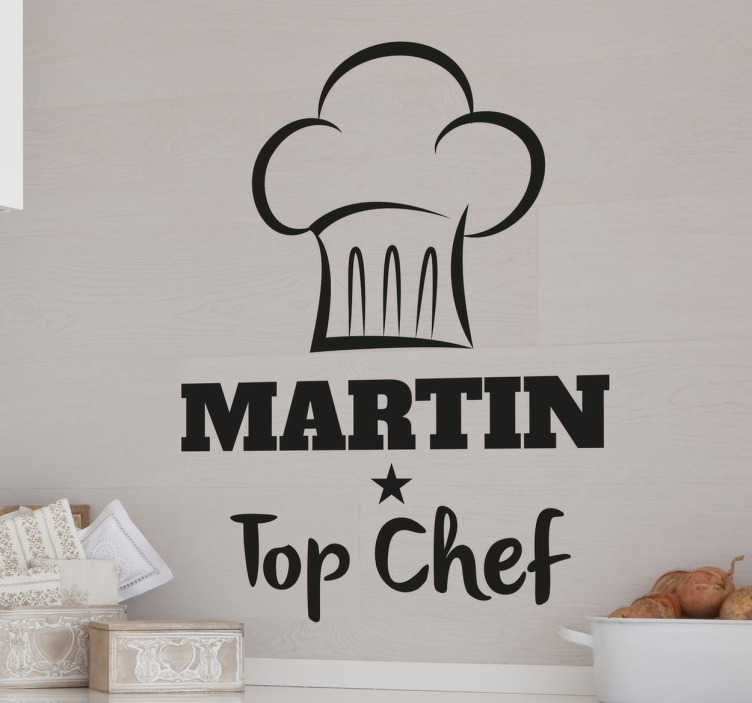 TenStickers. Chefs Hat Kitchen Wall Sticker. This original kitchen wall sticker consists of a cooking hat with the words 'Top Chef' written below. Let someone know that you think their cooking's great by personalising the name of the chef.