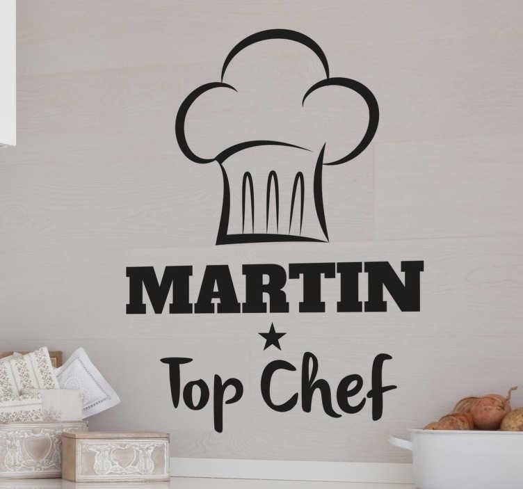 """TenStickers. Wandtattoo Top Chef personalisiert. Dieser originelle Wandsticker besteht aus einer Kochmütze, dem Schriftzug """"Top Chef"""" und dem Namen Ihrer Wahl und macht Ihre Küche zum Hingucker!"""
