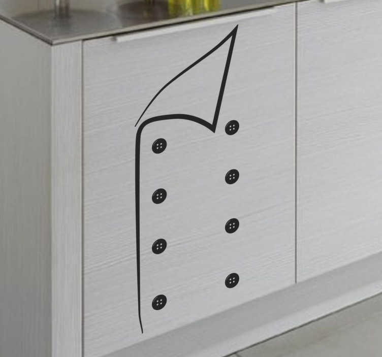 TenStickers. Dekoracja ubranie szefa kuchni. Ilustracja przedstawia ubranie szefa kuchni. Wprowadż niepowtarzalną aranżację wnętrza do swojego mieszkania.