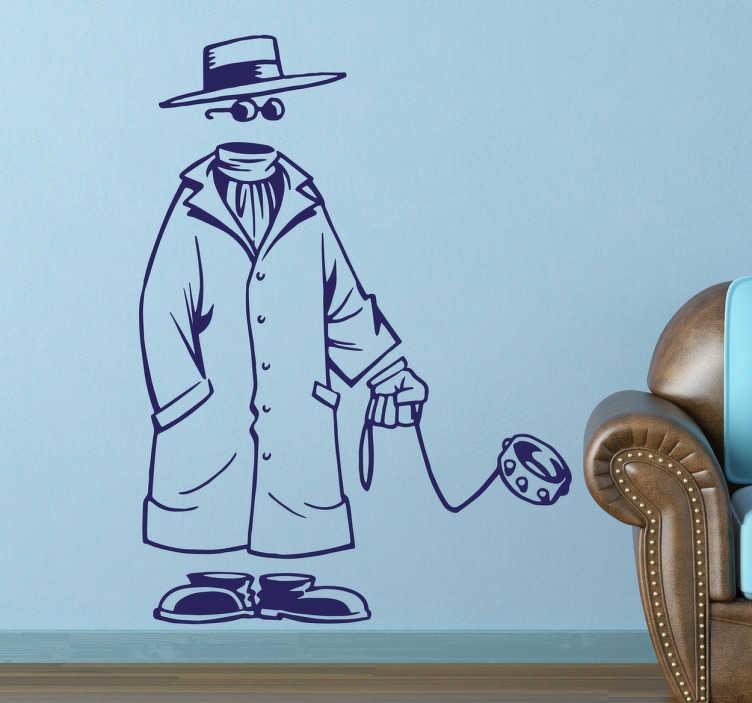 TenVinilo. Vinilo persona y perro invisibles. Vinilos divertidos de un amigo invisible vestido con gabardina, sombrero y gafas de sol acompañado de su mascota, también invisible.