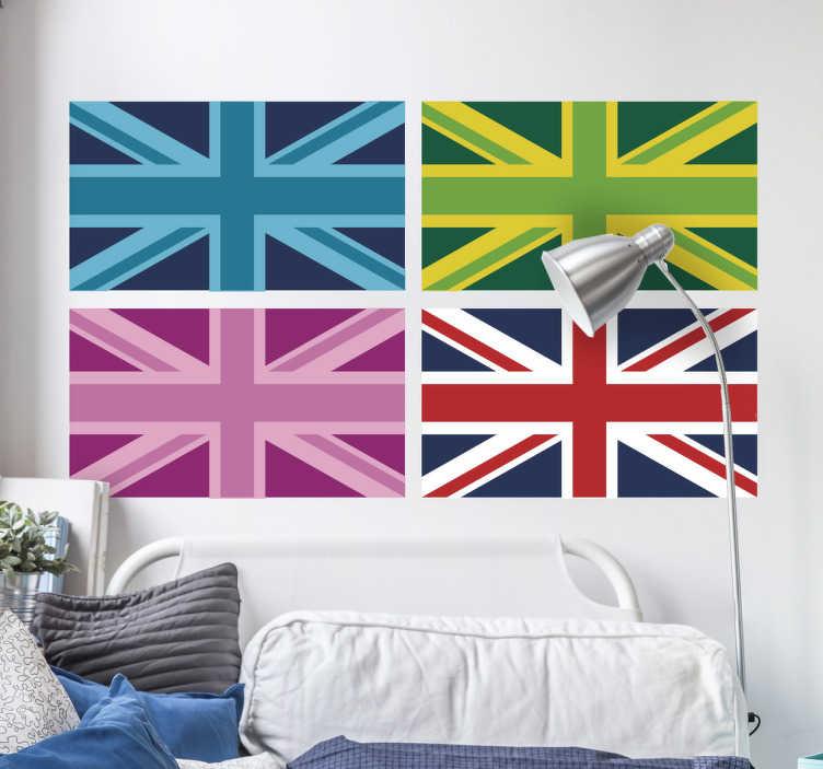 TenStickers. Naklejki - Flagi Wielkiej Brytanii. Naklejka dla wszystkich miłośników pop artu. Naklejka przedstawia 4 flagi brytyjskie w różnych wersjach kolorystycznych.