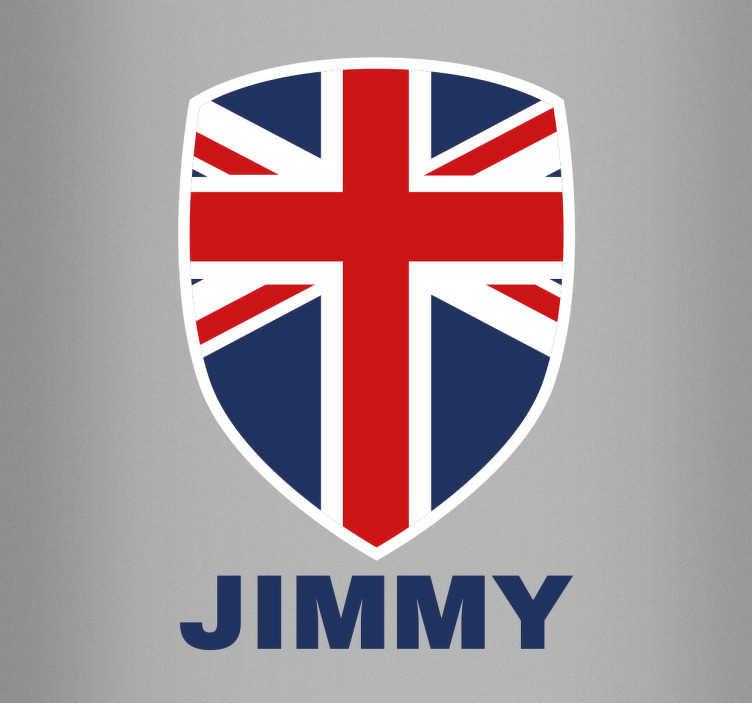 TenStickers. Naklejka personalizowana Wielka Brytania. Dekoracja ścienna przedstawiająca flagę Wielkiej Brytanii w herbie pod którym możesz wpisać imię.