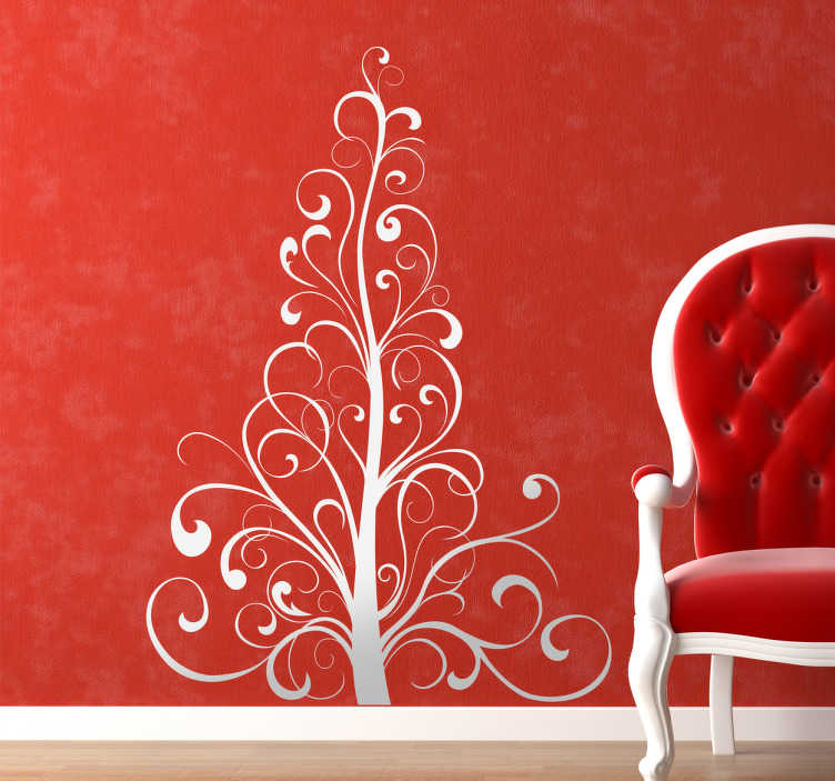 TenStickers. Sticker arbre de noël linéal. Sticker d'un petit arbuste de couleur blanche pouvant être parfait pour décorer les murs de votre salon pendant la période de noël.