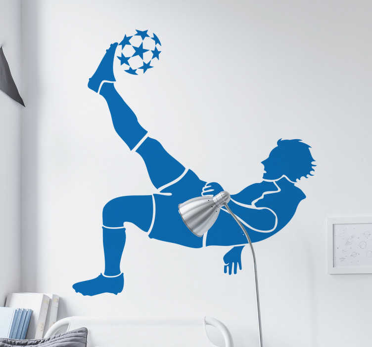 TenStickers. Football Player Kicking a Ball Wall Sticker. Are your kids crazy about football? Then get this great football wall sticker of a footballer overhead kicking a Champions League ball!  This silhouette wall sticker is perfect for decorating a child's room, teen's room, sports bar or sports centre.