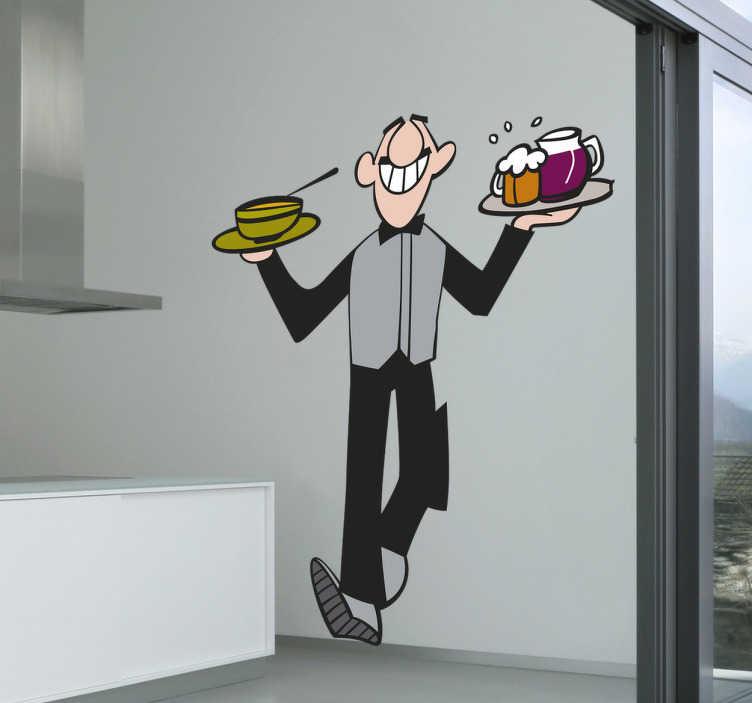 TenVinilo. Vinilo decorativo camarero divertido. ¿Quieres comprar vinilos para decorar tu cocina, tu bar o restaurante? Ponemos a tu disposición originales vinilos de autor.