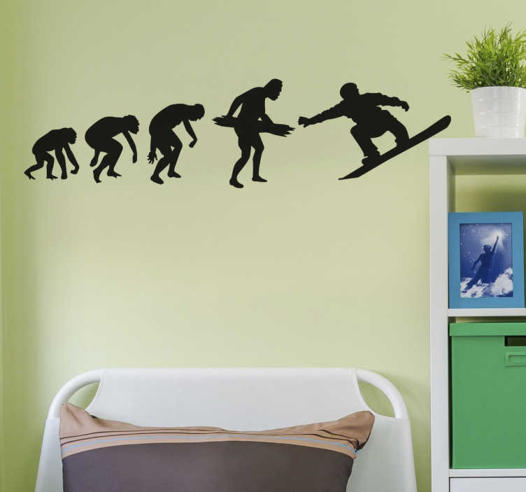 TenStickers. Evolution to Snowboarder Wall Sticker. The wall sticker consists of 5 evolution stages from monkey to snowboarder.