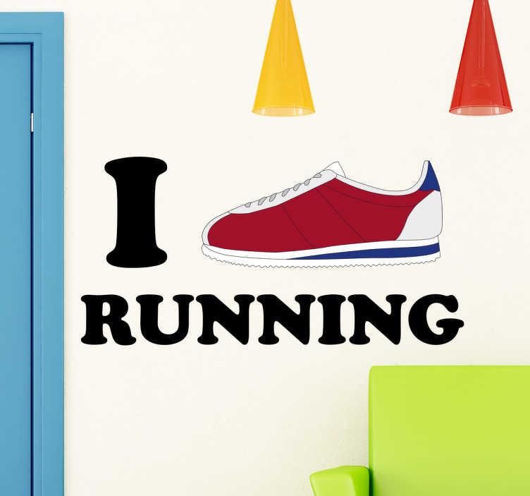 """TenStickers. Adesivo I love running. Adesivi di sport per gente appassionata di running nella quale appare una scarpa ed il testo """"amo correre"""" in inglese."""