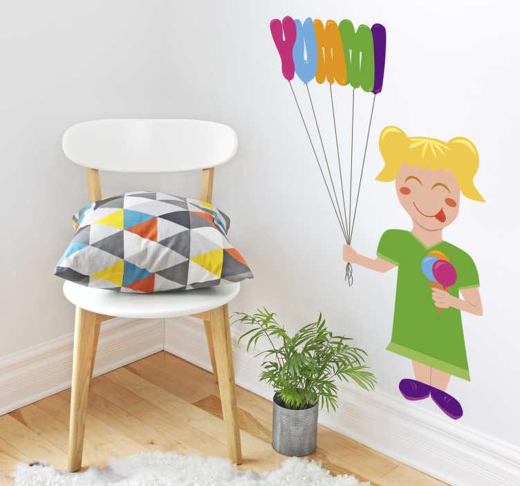 """TenVinilo. Vinilo decorativo Yummi. Pegatinas infantiles con una colorida ilustración de una niña comiendo un rico cucurucho y sosteniendo unos globos que forman la palabra """"yummi""""."""