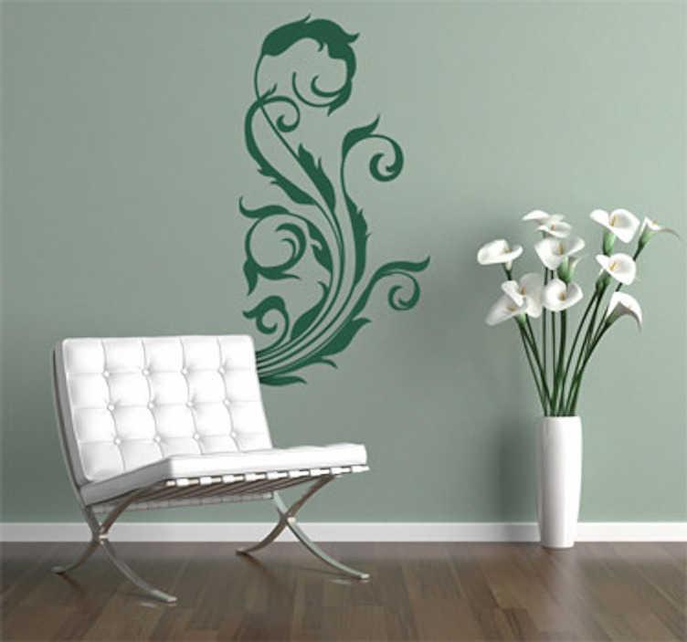 TenStickers. Sticker decorativo fiori 15. Adesivo murale che raffigura un elegante ornamento floreale. Una decorazione ideale per le pareti del soggiorno o della camera da letto.