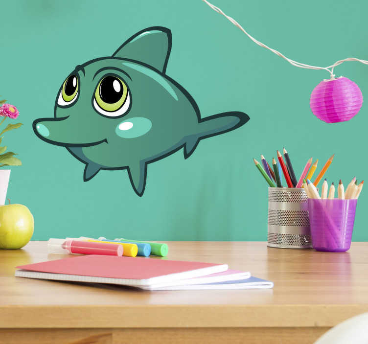 TenStickers. Dolphin Wall Sticker. The wall sticker consists of a cute baby dolphin with big eyes.