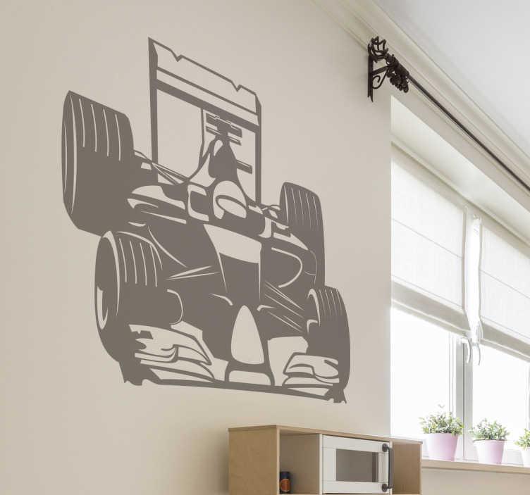 TenStickers. Formuła 1 Naklejka ścienna. Naklejka przedstawia samochód wraz z kierowcą.Dekoracja świetnie będzie pasowała do mieszkania osoby,która uwielbia sporty ekstremalne.