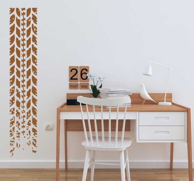 TenStickers. Decorative Tyre Track Wall Sticker. The tyre track wall sticker pays fine attention to detail and has the ability to bring edginess to your room.