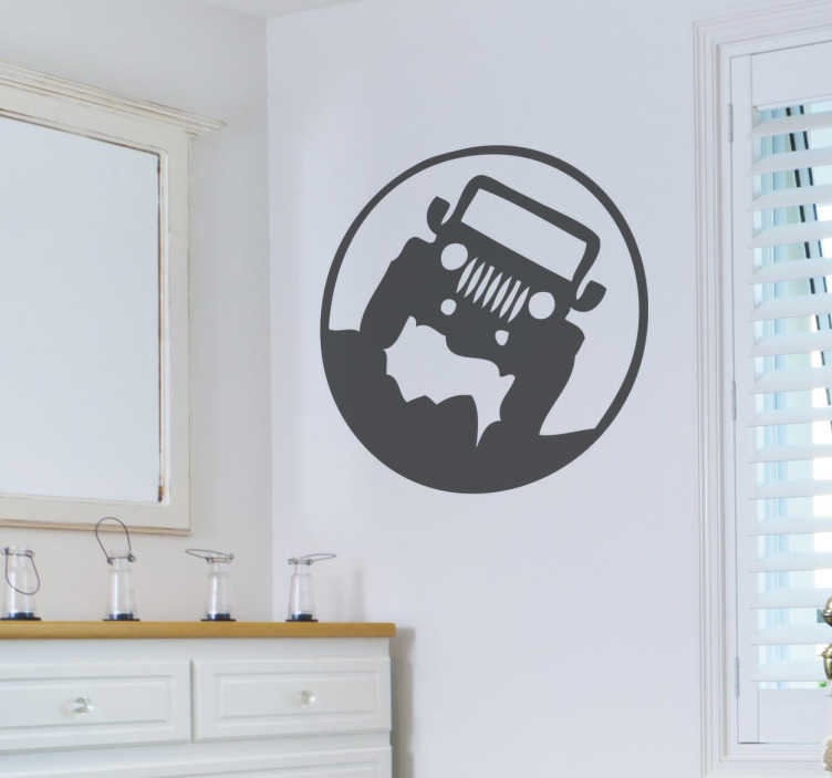 TenStickers. Jeep Wall Sticker. The wall sticker consists of a jeep that travels over rough terrain and is surrounded by a circle.