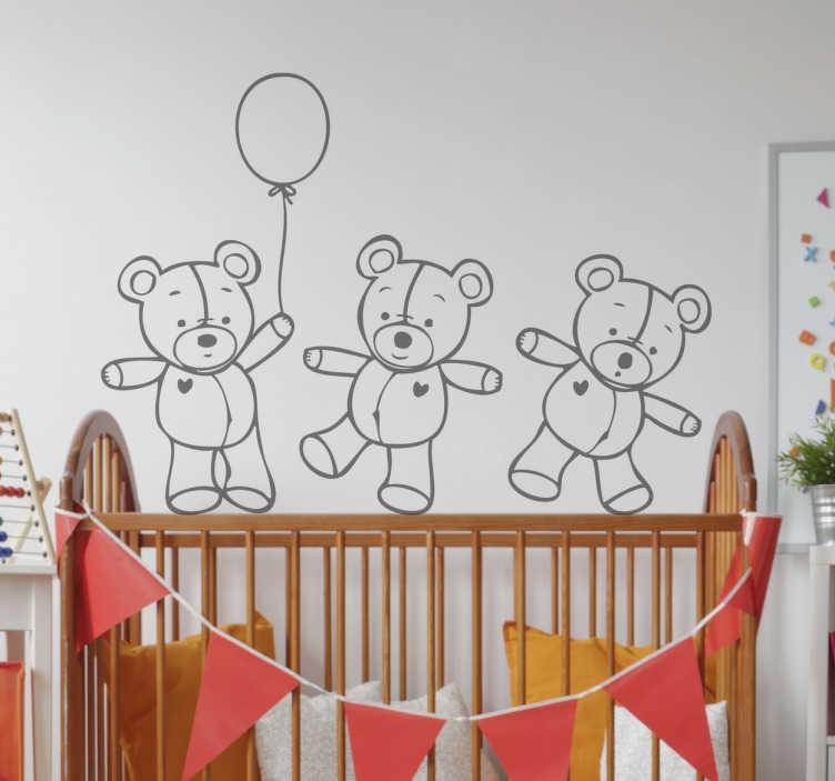TenStickers. Wandtattoo Teddys mit Herz. Wenn Sie Ihren Kindern eine Freude machen wollen, überraschen Sie sie doch mit einem tollen Wandtattoo mit 3 süßen Teddys!