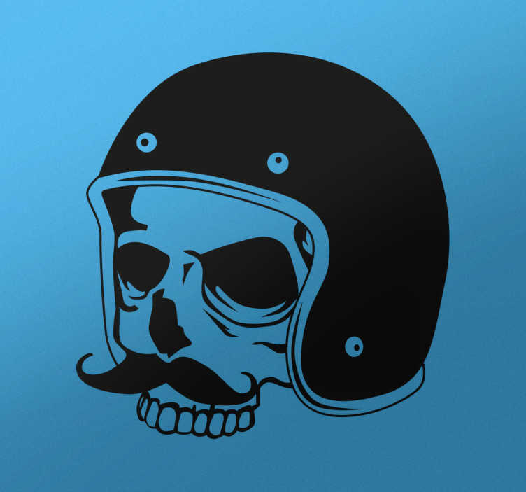 TenStickers. Skull Sticker. The sticker consists of the image of a dead skull with a moustache, wearing a motorcycle helmet in a retro style.