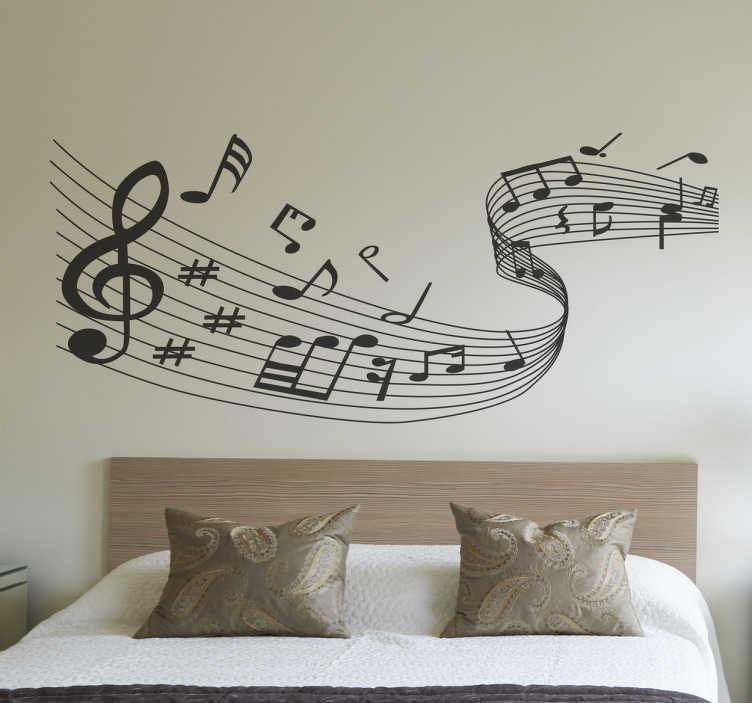 TenStickers. Glasbeno noto stene decal. Si vedno ljubil glasbo? Nato dodajte posebno obliko v vaš dom s to glasbeno steno nalepko zakrivljenih linij z glasbeno noto. Ta monokromatska stenska nalepka je sestavljena iz ukrivljene linije not z različnimi glasbenimi znaki in je na voljo v več velikostih in barvah.