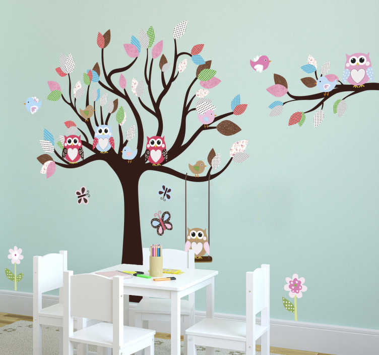 TenStickers. Tree and Owls Wall Sticker. This owl wall sticker consists of a small colourful tree in which many different owls sit. This tree wall decal is especially suitable as a wall decoration in the children's room or nursery and ensures a friendly and playful ambiance.